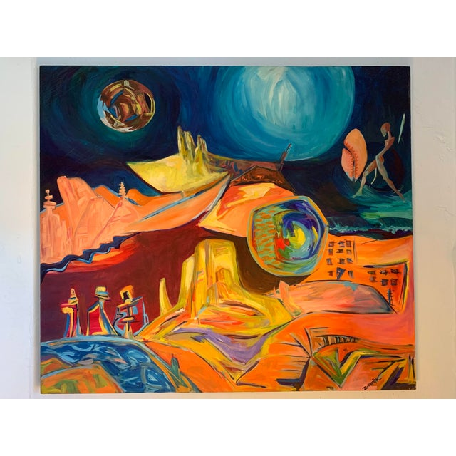 Fabulous untitled abstract surrealist painting by artist Zumerchik. This colorful surrealist painting would brighten up...