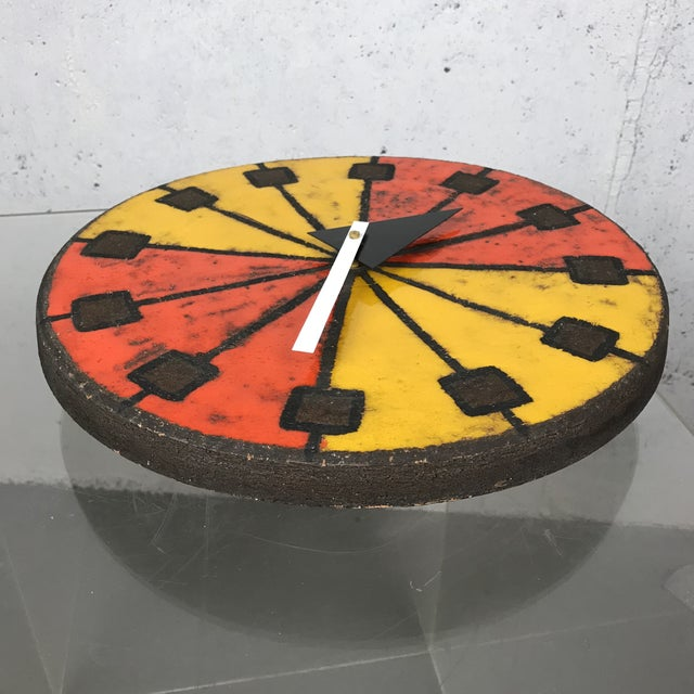 Mid-Century Modern 1960's Italian Ceramic Wall Clock by Bitossi & George Nelson For Sale - Image 9 of 13