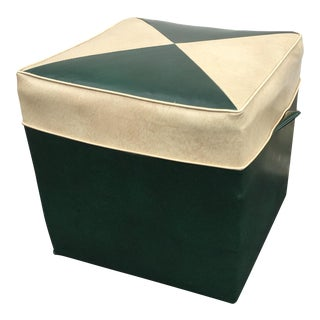Vintage Forest Green and Sand Vinyl Hassock For Sale