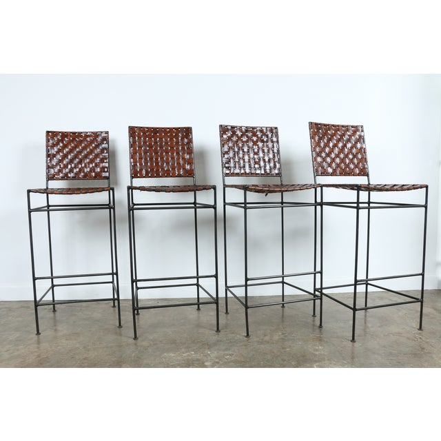 1990s Vintage Leather Bar Stools - Set of 4 - Image 2 of 11