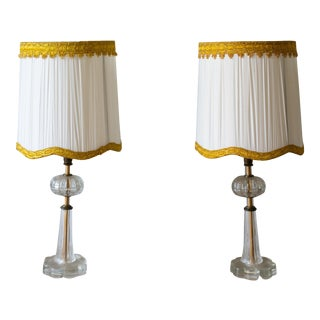 1930s Art Deco Glass Boudoir Lamps With Ivory Pleated Shades - a Pair For Sale