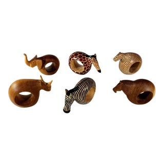 Vintage Handcarved Wooden African Animal Napkin Rings - Set of 6 For Sale