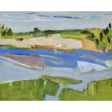 "Image of ""North Shore"" Contemporary Abstract Landscape Oil Painting by Ann Keane For Sale"