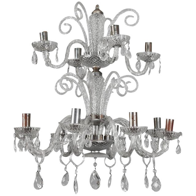 Large Double Tier Murano Clear Glass Chandelier For Sale