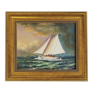 Racing Boat Framed Print on Canvas in Antiqued Gold Frame For Sale