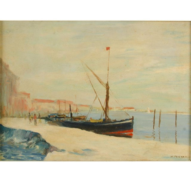 Black sailboat in harbor with red stripe - Oil on Board , signed lower right - Framed dimensions: 19.25 in x 15.25 in ;...