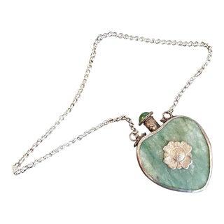 19th Century Qing Tibetan Jadeite Silver and Jade Perfume/Snuff Pendant For Sale