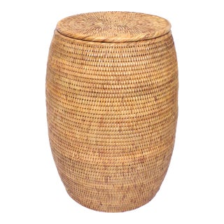 Wovan Rattan Drum Side Table For Sale