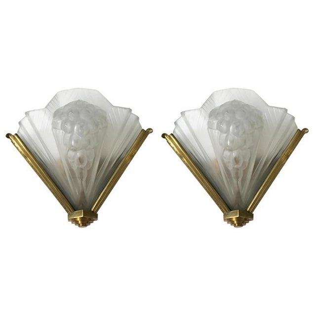 French Art Deco Signed Atelier Petitot Ribbed Sconces - A Pair For Sale - Image 13 of 13