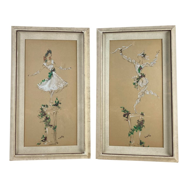 Marcel Vertes Paintings - a Pair of Whimsical Dancers For Sale