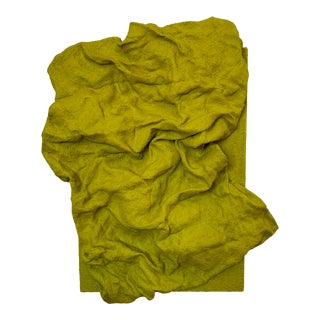 """Chartreuse Folds"" Abstract Fabric Wall Sculpture by Chloe Hedden For Sale"