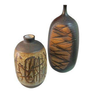 Tim Keenan Abstract Ceramic Vessels - a Pair For Sale