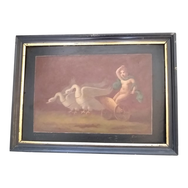 Late 19th Century Antique Goose Cart and Putti Child Italian Oil Painting For Sale