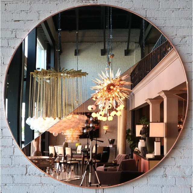 Contemporary Custom Half Silver Half Apricot Round Mirror For Sale - Image 3 of 9