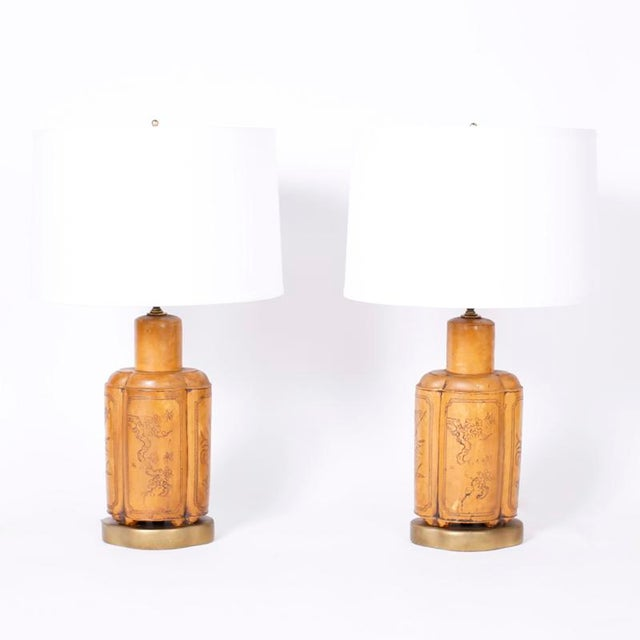 Brown 1960s Mid Century Asian Modern Faux Leather Table Lamps - a Pair For Sale - Image 8 of 8