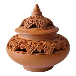 Red Clay Incense Burner Lidded Jar