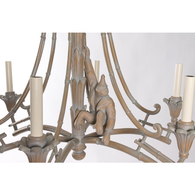 Serge Roche Style Plaster Chinoiserie Palm Chandelier - Image 4 of 7