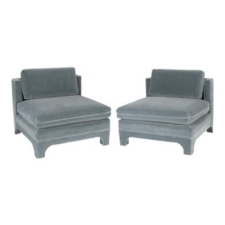 1970's Vintage Upholstered Interior Crafts Slipper Chairs- A Pair For Sale