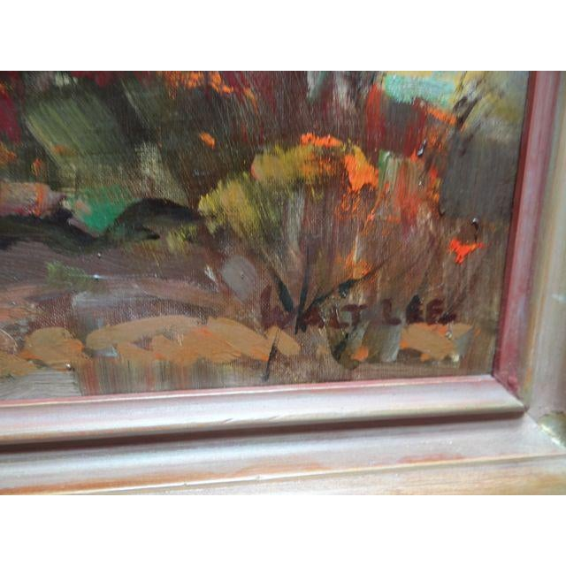 """Country 1950s Vintage Walt Lee """"After the Rain"""" Oil on Canvas Painting For Sale - Image 3 of 9"""