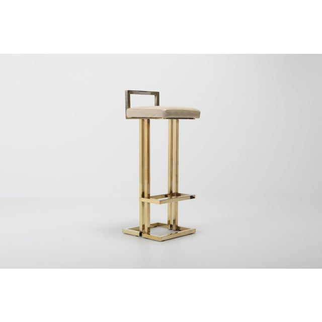 Hollywood Regency Maison Jansen Brass Stools Set of Four For Sale - Image 3 of 8