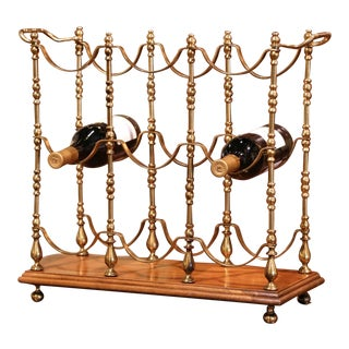 Midcentury French Brass and Walnut Nine Bottles Holder Rack For Sale