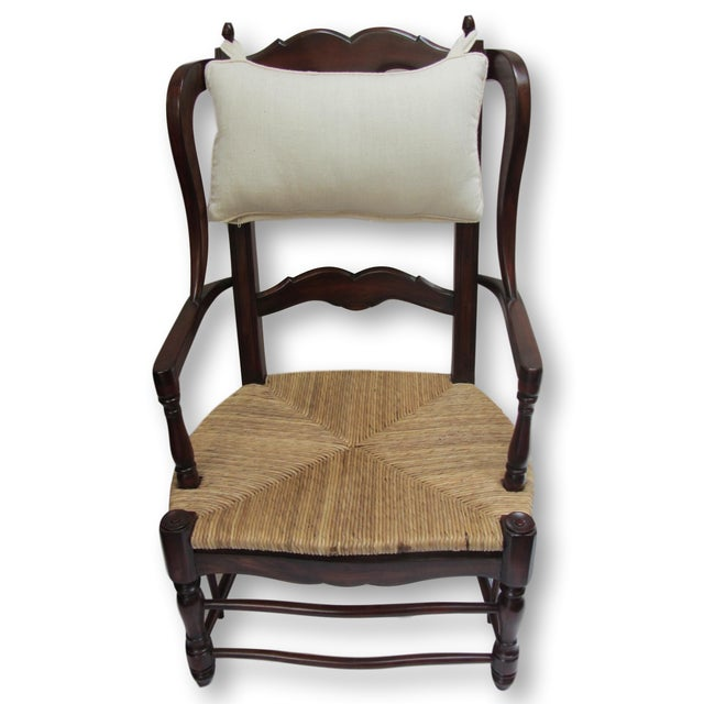 Large Ladder Back Wing Chairs - Pair - Image 5 of 7