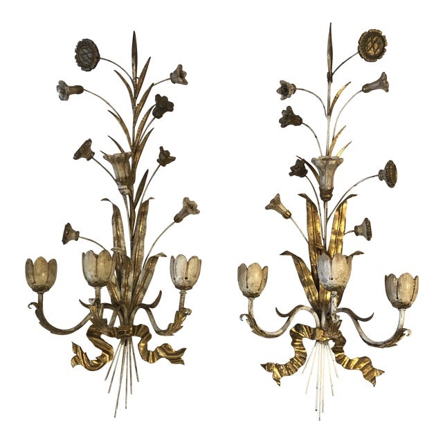 Gold Gilt Iron Carved Wood French Tulip Motife Candle Sconces -Pair For Sale