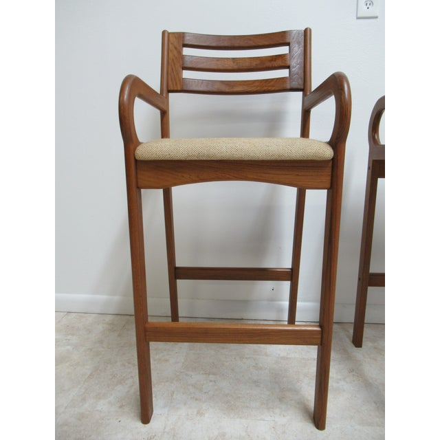 Danish Modern Teak Ladder Back Bar Counter Arm Stools - a Pair For Sale - Image 9 of 12