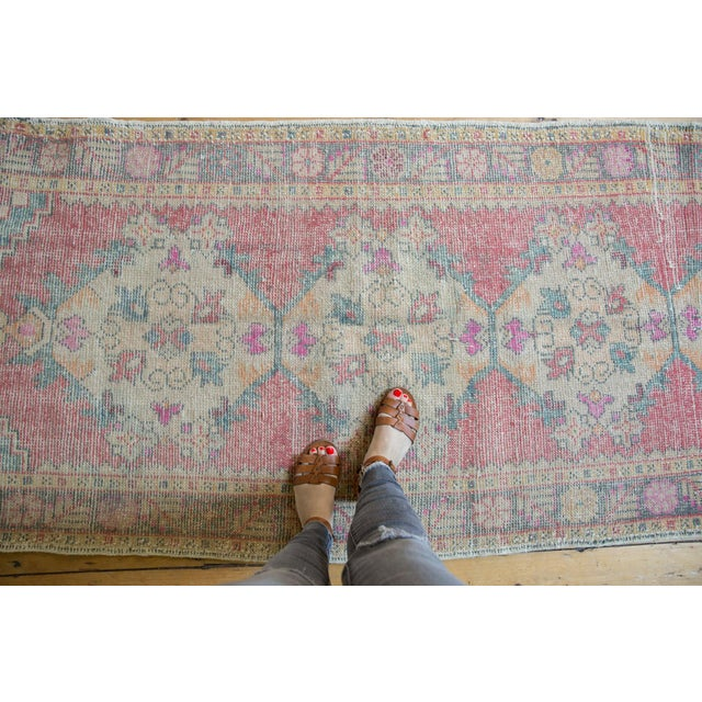 "Shabby Chic Vintage Distressed Oushak Rug Runner - 3'5"" X 9'5"" For Sale - Image 3 of 11"