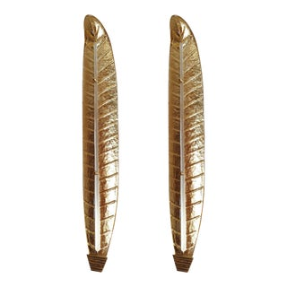 1970s Mid-Century Modern Barovier Style Murano Gold Leaf Sconces - a Pair For Sale