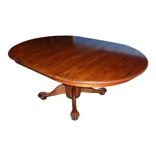 20th Century Gothic Round Oak Claw Foot Pedestal Dining Table With Extra Leaf For Sale