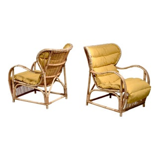 Viggo Boesen Pair of Bamboo and Cane Chairs With Cumin Yellow Cushions, Denmark For Sale