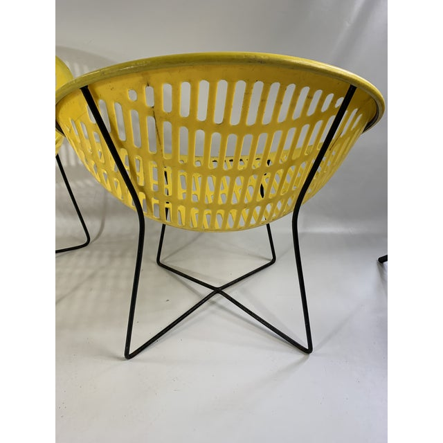Plastic Mid Century Howard Johnson Hotel Yellow Solar Lounge Chairs - a Pair For Sale - Image 7 of 11