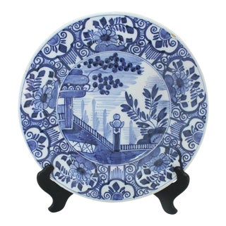 1800s Antique Delft Asiatic Scene Charger For Sale