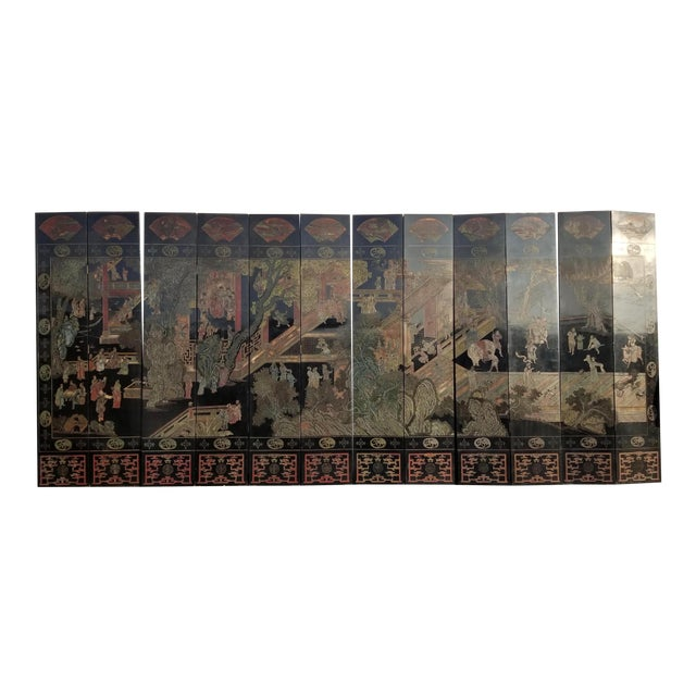 20th Century Asian Chinese Chinoiserie Black Coromandel 12 Panel Screen Oriental Asian For Sale