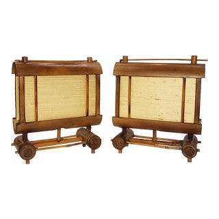 Japanese Tsuitatte Bamboo Lamps - a Pair For Sale