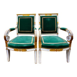 Late 19th Century Neoclassical Painted Gilt Fauteuils- A Pair For Sale