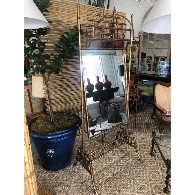 """beautiful faux bronze bamboo cheval floor length mirror on chinoiserie style pagoda stand. Mirror size is 28"""" x 41"""". This..."""