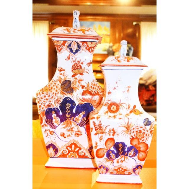 Italian Meiselman Foo Dog Vases - Pair - Image 2 of 7