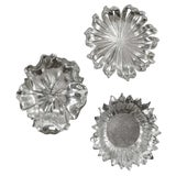 Image of Silver Flowers Wall Decor - Set of 3 For Sale