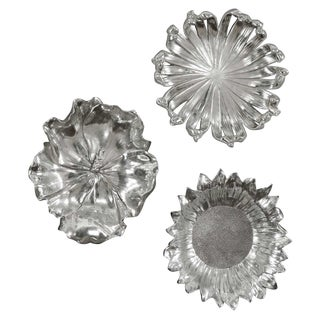 Silver Flowers Wall Decor - Set of 3 For Sale