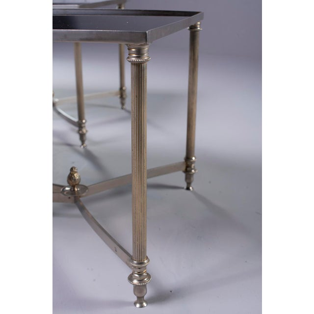 Glass Pair French Black Glass Cocktail Tables For Sale - Image 7 of 11