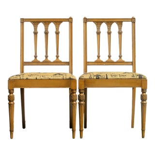 Midcentury French Louis XVI Style Chairs, Pair For Sale