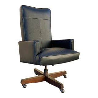 1970s Modern High Back Executive Chair, Refinished For Sale