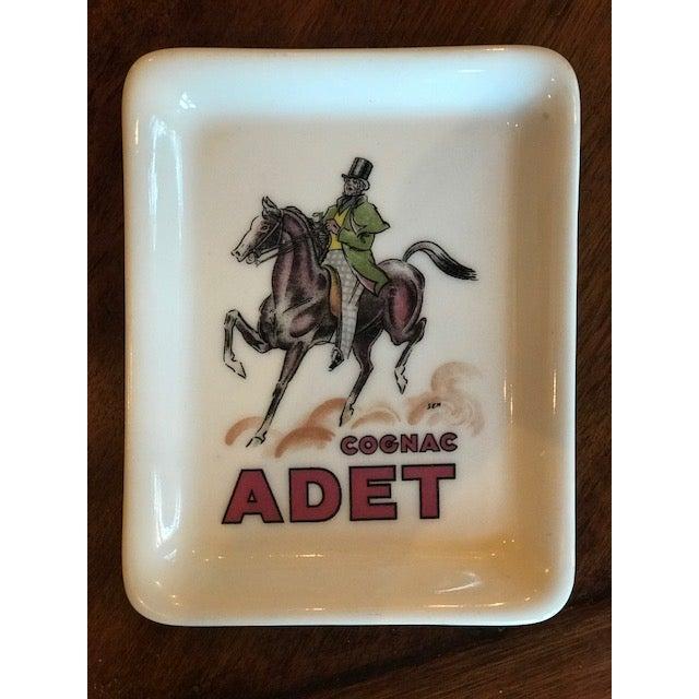 """Ceramic Limoges France """"Cognac Adet"""" Porcelain Ashtray For Sale - Image 7 of 7"""