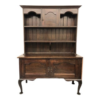 English Georgian Hutch or Welsh Two Piece Cabinet With Display Hutch For Sale