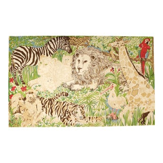 Vintage Zuzek Zoo Animals Textile Wall Hanging Jungle Print