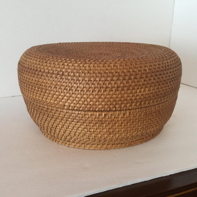 Contemporary Woven Basket & Lid For Sale - Image 3 of 11