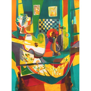 'Still Life With Guitar' by Marcel Mouly Expressionist Stone Lithograph For Sale