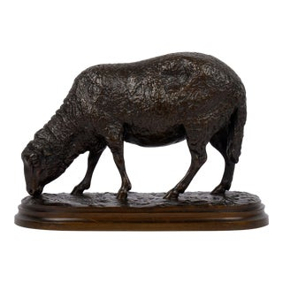 """""""Grazing Ram"""" French Antique Bronze Sculpture by Rosa Bonheur, Cast by Peyrol For Sale"""